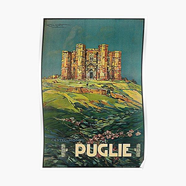 Vintage Puglia Italy Castle Travel Poster