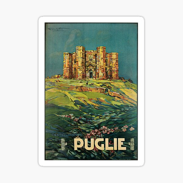 Vintage Puglia Italy Castle Travel Sticker