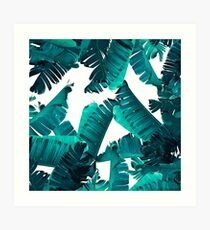 Banana Leaves Teal Art Print