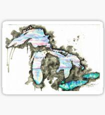 Michigan Watercolor - A Day on the Lake Sticker