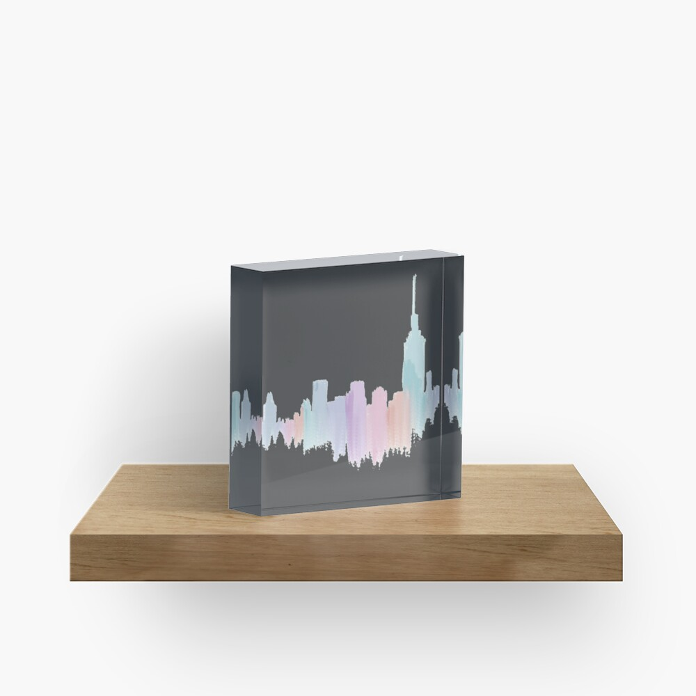 Painted City Skyline Acrylic Block