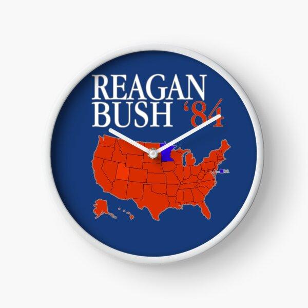 Reagan Bush '84 Retro Logo Red White Blue Election Map Ronald George 1984 84 Red States Electoral College Clock