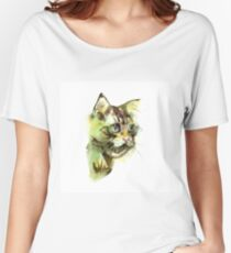 Cute cat. Watercolor illustration. T-shirt print. Greeting card. Poster Kitten. Women's Relaxed Fit T-Shirt