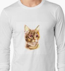 European shorthair cat red tabby, kitten lies on white background, isolated, hand draw watercolor painting. Long Sleeve T-Shirt