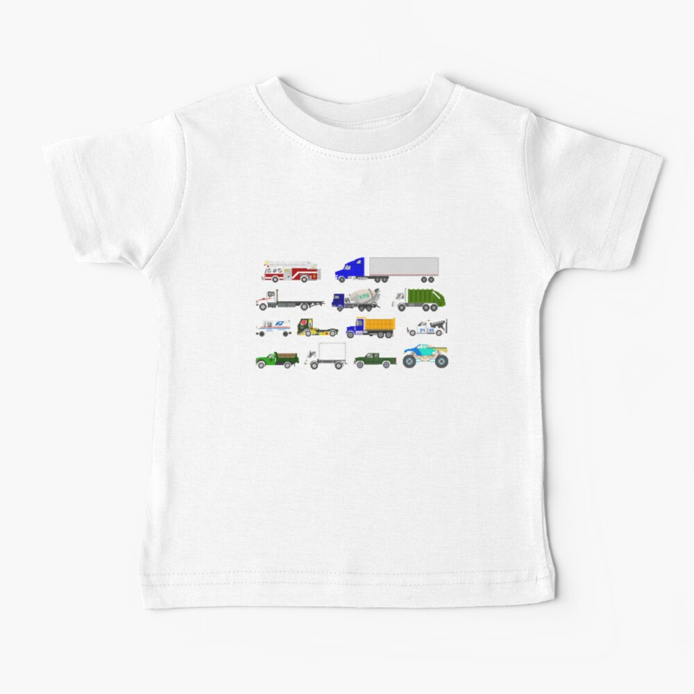 Trucks - The Kids' Picture Show - Pixel Art Baby T-Shirt