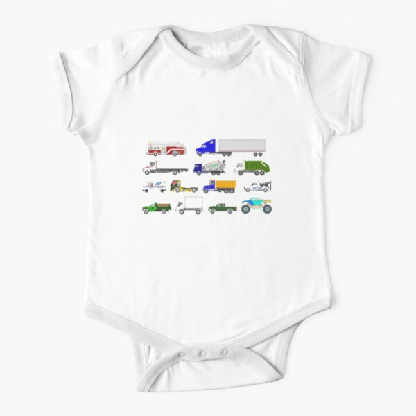 Trucks - The Kids' Picture Show Short Sleeve Baby One-Piece