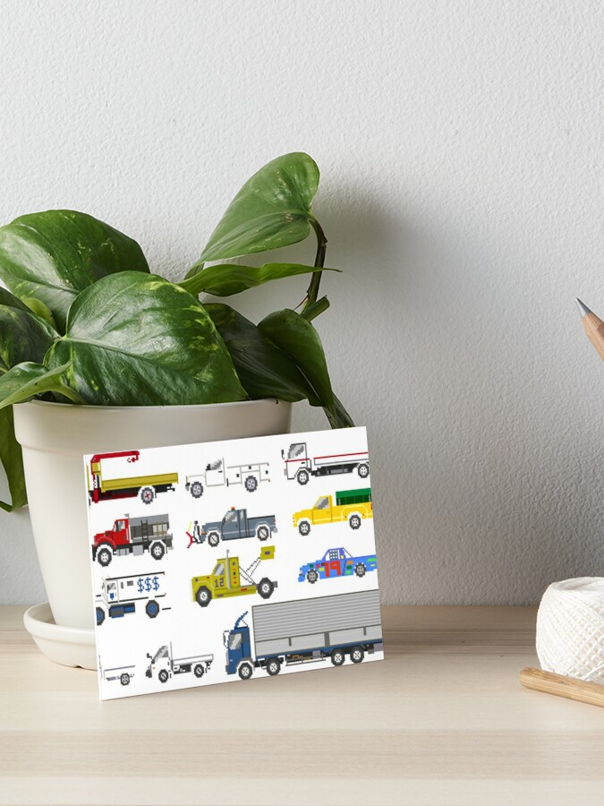 trucks 2 the kids picture show pixel art art board print by kidspictureshow redbubble redbubble