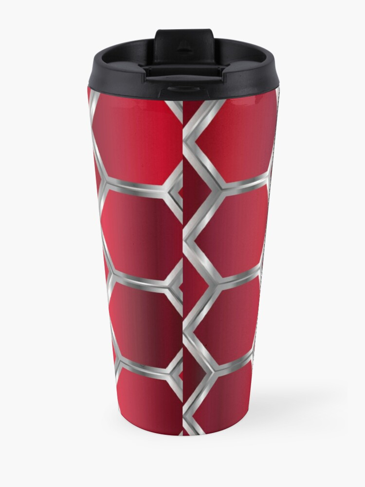 Alternate view of Red and Silver Octagonal Geometric Pattern Travel Mug