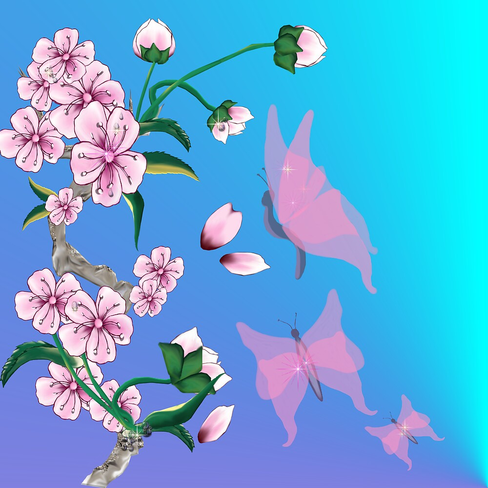 Cherry Blossoms with Pink Butterflies by Lotacats