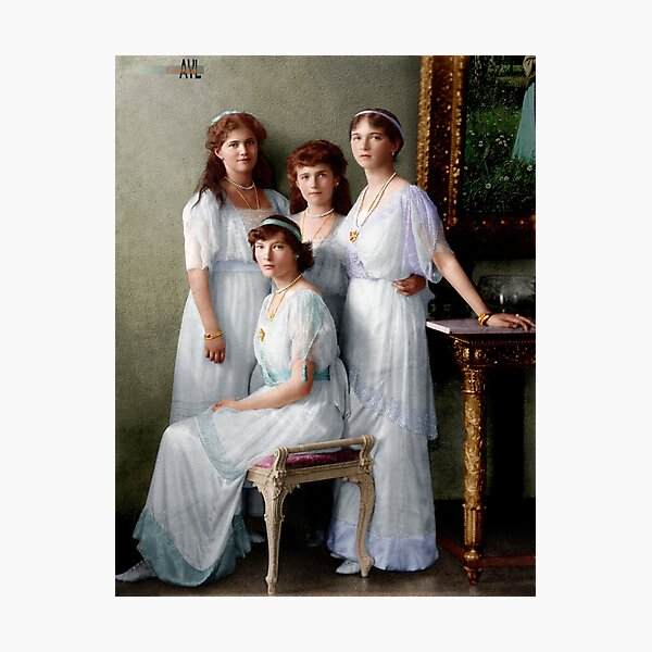 Colorized Romanoff Sisters, circa 1913-14 OTMA Photographic Print