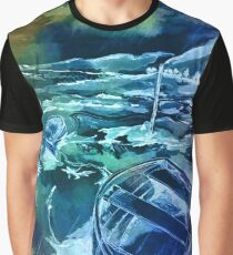 Pen and ink boats blue Graphic T-Shirt