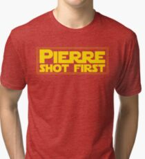 Pierre Shot First- Yellow Font with Rectangle Tri-blend T-Shirt