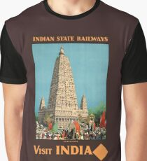 India Railways Vintage Travel Poster Restored Graphic T-Shirt