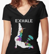 Unicorn Yoga Women's Fitted V-Neck T-Shirt