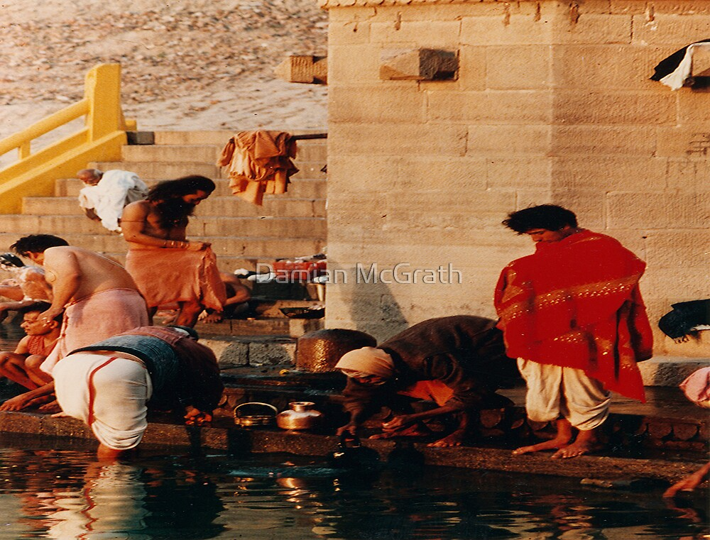 """Bathing in the Holy Water """"Ganges """" Reflections of India by Damian McGrath"""