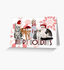 Holiday Cats in Red Hues Greeting Card