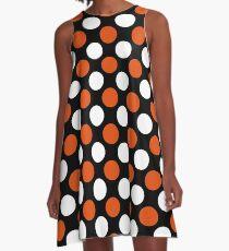 White-Orange Polka dot Big A-Line Dress