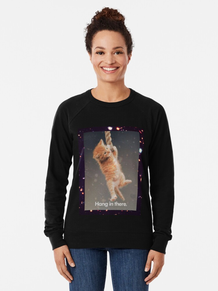 Alternative Ansicht von Hang In There, Space Kitty Leichter Pullover