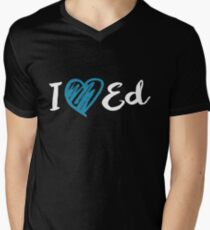 I Heart Ed Design (Black/Inverted) Men's V-Neck T-Shirt