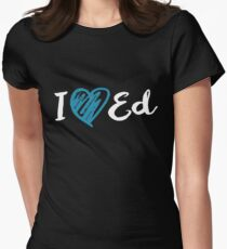 I Heart Ed Design (Black/Inverted) Women's Fitted T-Shirt