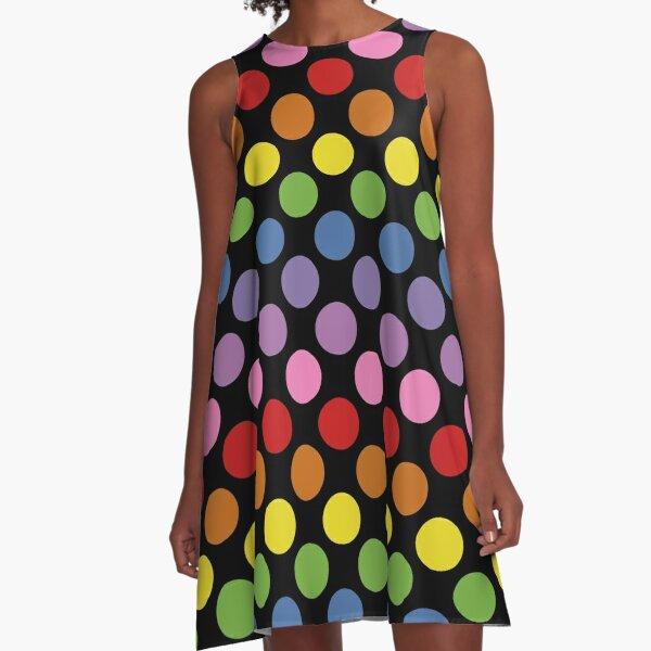 Rainbow Polka Dots A-Line Dress
