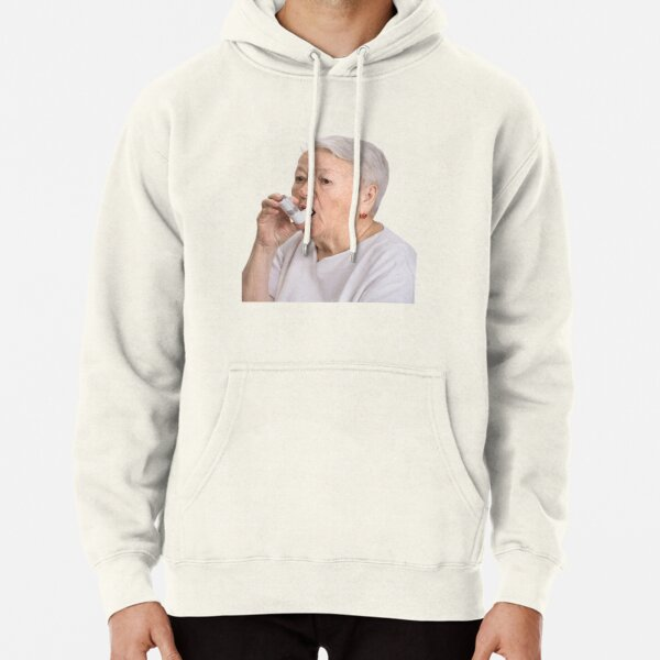Old Lady with Inhaler Pullover Hoodie