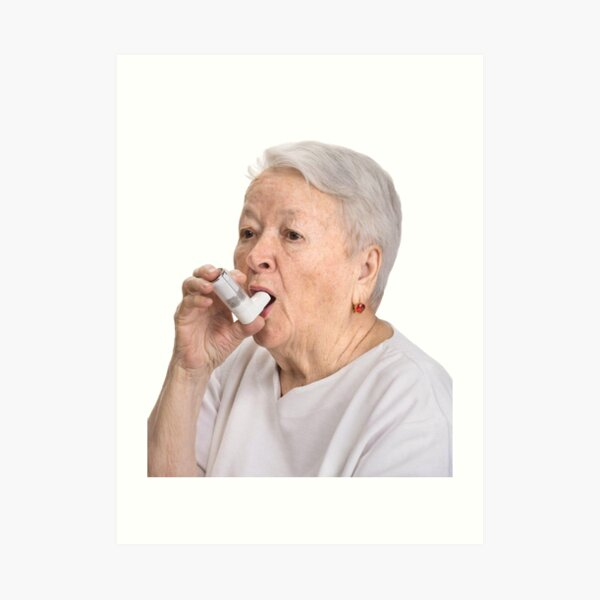Old Lady with Inhaler Art Print