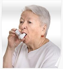 Old Lady with Inhaler Poster