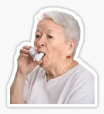 Old Lady with Inhaler Sticker