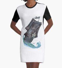 Skeleton Crew Pirate Ship Graphic T-Shirt Dress