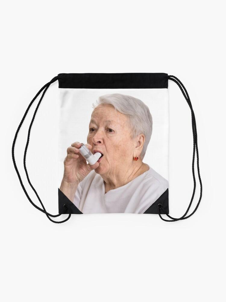 Alternate view of Old Lady with Inhaler Drawstring Bag