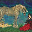 Princess with Raven and Horse by Stephanie Small