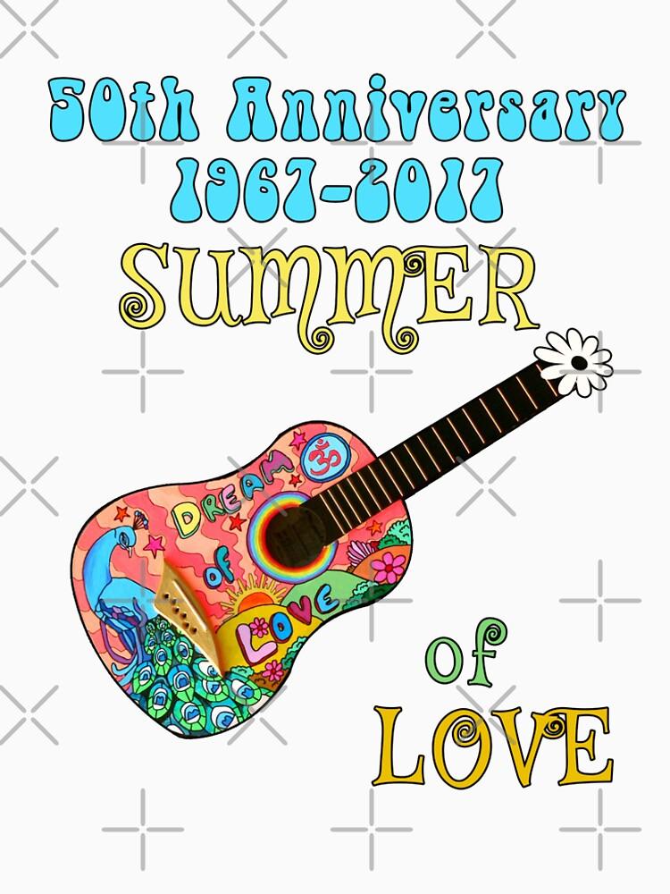 b52e0c1cee9 50th Anniversary Summer of Love Peacock Guitar Hippie Design by transferarts