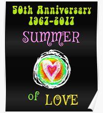 50th Anniversary Summer of Love Hippie Heart Poster