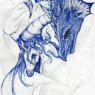 Unicorn Dragon Blue Horse Pony Dragon Monster Beast Reptile Equus Equine by Stephanie Small