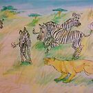 Zebras Versus Lion by Stephanie Small