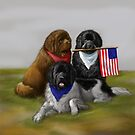 Newfies and American flag  by Patricia Reeder Eubank