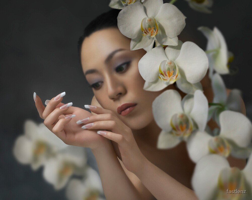 woman and orchids by fastlenz
