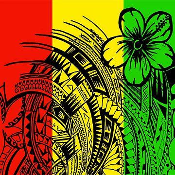 Quot Reggae Polynesian Designs Quot Contrast Tank By Atikapu