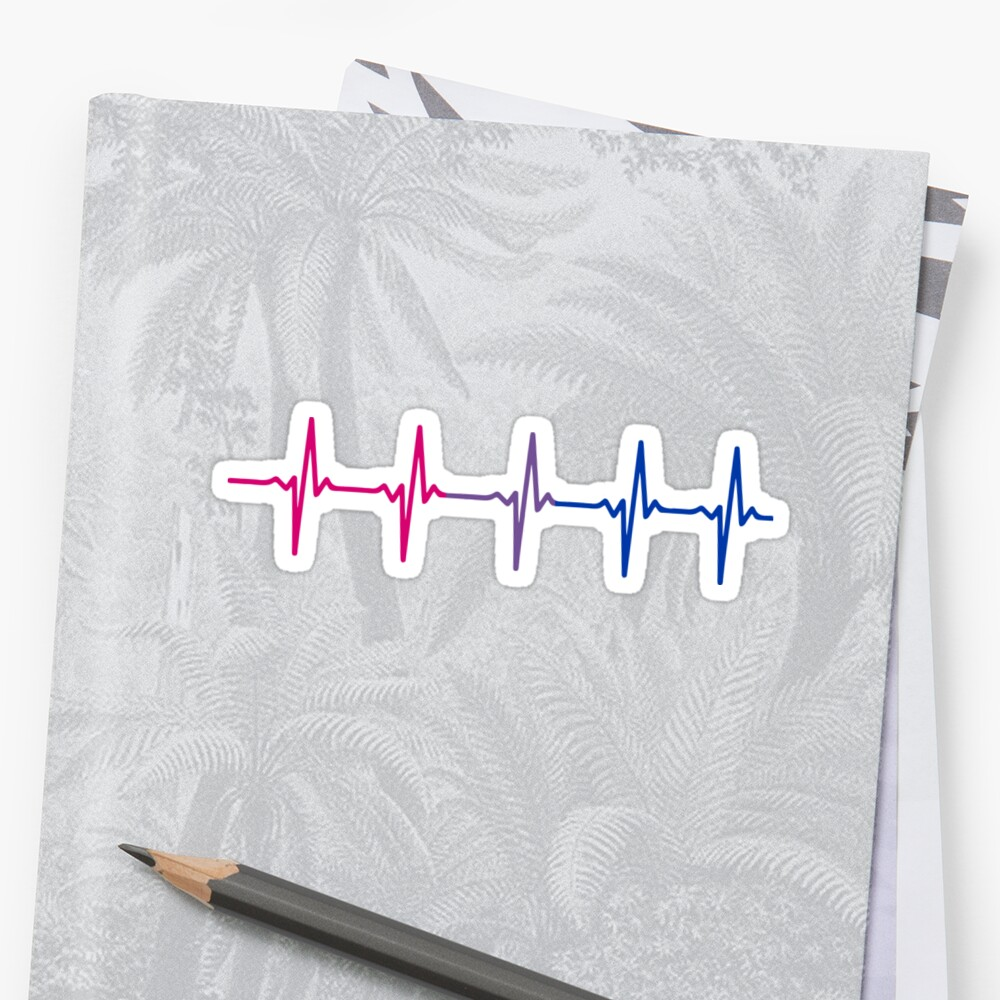 Bisexual Pride Heartbeat Pulse Stickers
