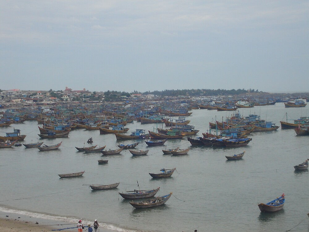 Boats at the Mui ne harbour by Quietus