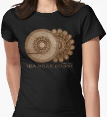 USA Solar Eclipse August 21 2017 Wood Grain Laser Etched Design Women's Fitted T-Shirt