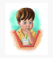 Toddler Drinking Photographic Print