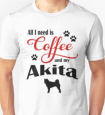 Coffee and my Akita Unisex T-Shirt