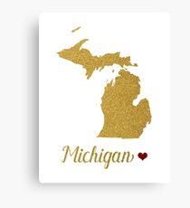 Michigan gold glitter map Canvas Print