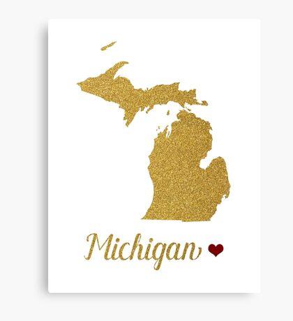 Michigan gold glitter map Canvas Print