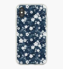 Navy and white cherry blossom pattern iPhone Case