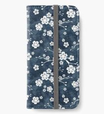 Marine und weißes Kirschblütenmuster iPhone Flip-Case/Hülle/Klebefolie
