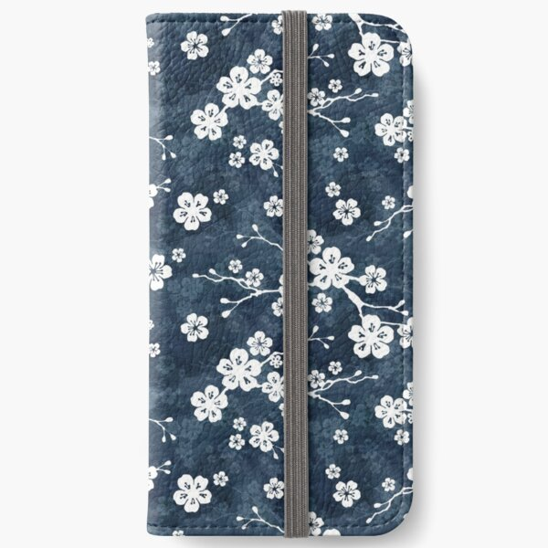 Navy and white cherry blossom pattern iPhone Wallet