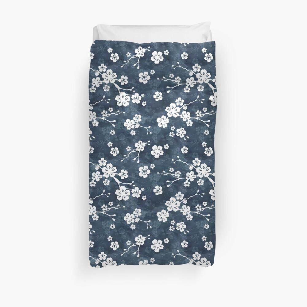 Navy and white cherry blossom pattern Duvet Cover